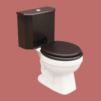 <PRE>Dual Flush Lowboy Round Toilet with Cherry Wood Tank and White Porcelain Bowl</PRE>zoom2
