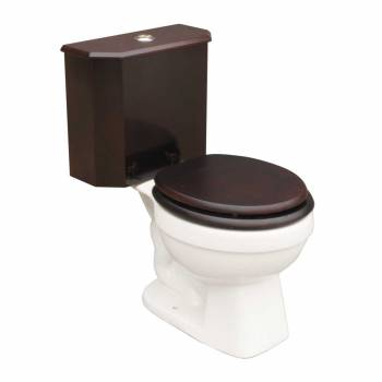 Dual Flush Lowboy Round Toilet with Cherry Wood Tank and White Porcelain Bowl Dual Flush Round Bathroom Toilet Round Bathroom 2 piece Toilets Wood Tank Bathroom Toilet