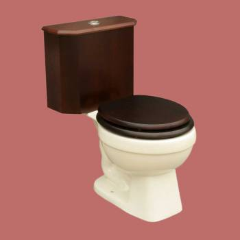 spec-<PRE>Round Toilet with Dark Oak Wood Tank and Bone Bowl </PRE>