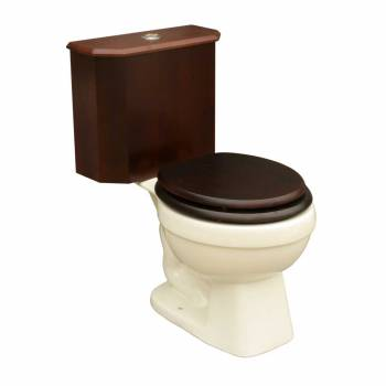 Round Toilet with Dark Oak Wood Tank and Bone Bowl 16774grid