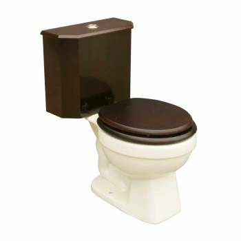 Round Toilet with Cherry Wooden Tank and Bone China Bowl 16775grid