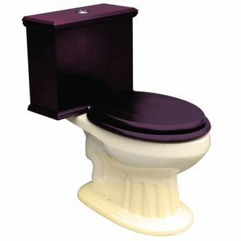 Elongated Toilet with Dark Oak Tank and Bone China Bowl
