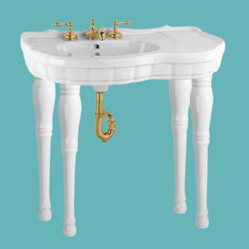 White Porcelain Bathroom Console Wall Mount Sink Southern Belle Four Spindle Legs Porcelain Console Sink Glossy Console Sinks Bathroom Console Sink