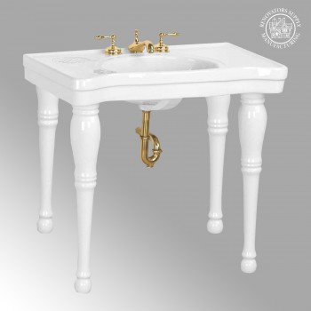 Renovators Supply Belle Epoque White Bathroom Console Sink with Spindle Legs Porcelain Console Sink Glossy Console Sinks Bathroom Console Sink
