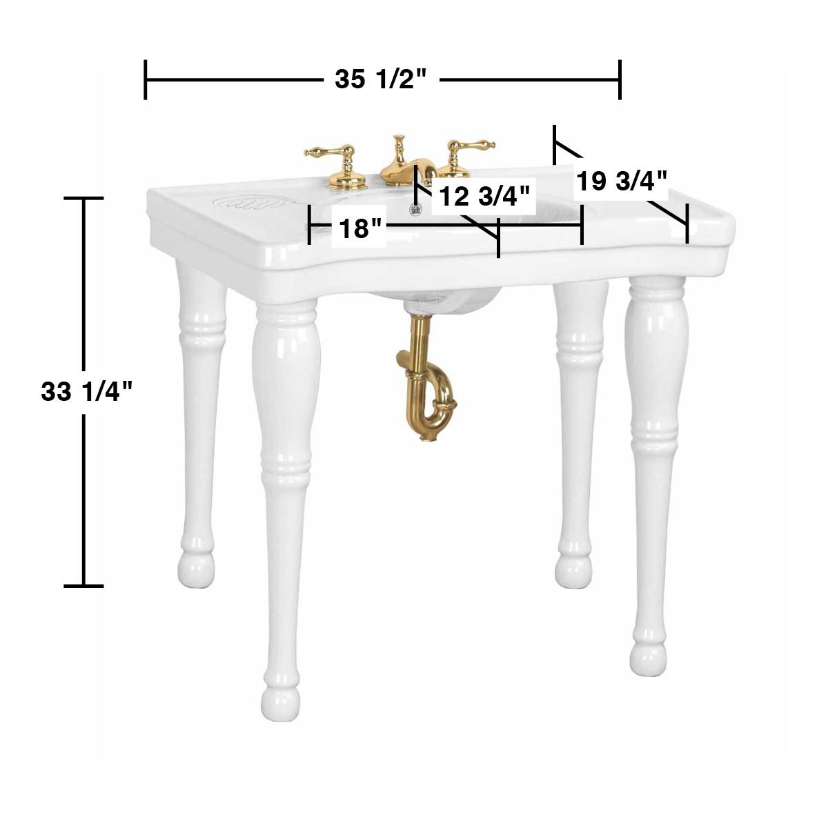 Elegant Spec U003cPREu003eConsole Sink White Belle Epoque Spindle Leg Widespread U003c/PRE