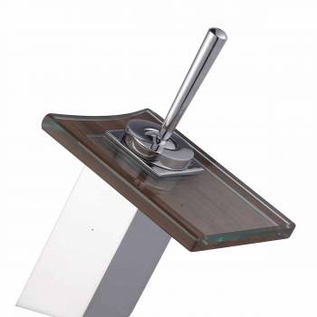 Waterfall Faucet Cast Heavy Chrome Square Glass Plate Short 16903grid