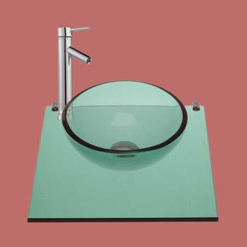 Mystic Plateau Wall Mount Glass Mini Sink Green - Glass sinks, Glass sink info & unique Glass accessories, quantity discounts on Glass sinks, Glass pedestal sinks, Glass wall mount sinks, Glass console sinks, counter top Glass sinks, Glass counter top sinks, Glass pedestal sinks, bathroom fixtures, Glass bathroom sinks, sink faucets & free shipping by Renovator's Supply.