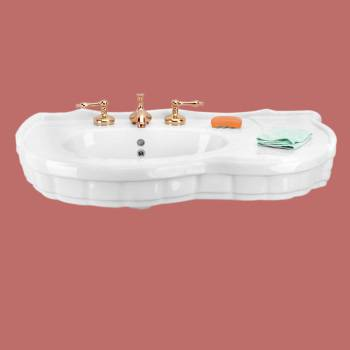 Console Sink Southern Belle White Porcelain Legs not Included Porcelain Console Sink Glossy Console Sinks Bathroom Console Sink