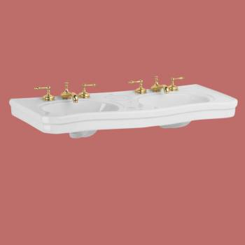 <PRE>Part White Vitreous China Belle Epoque Double Deluxe Console Sink 8in.</PRE>zoom2