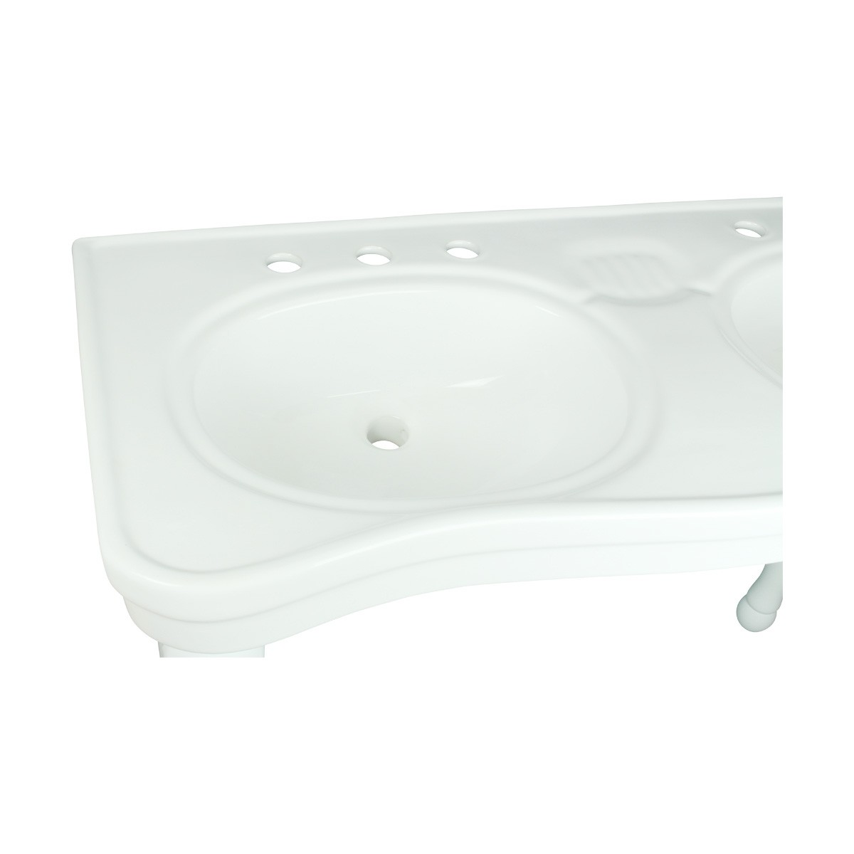 Porcelain Double Console Sink Glossy Console Sinks Bathroom Console Sink