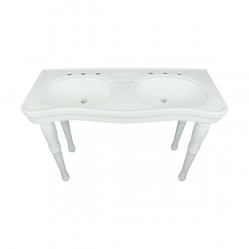 <PRE>Part White Vitreous China Belle Epoque Double Deluxe Console Sink 8in.</PRE>zoom4