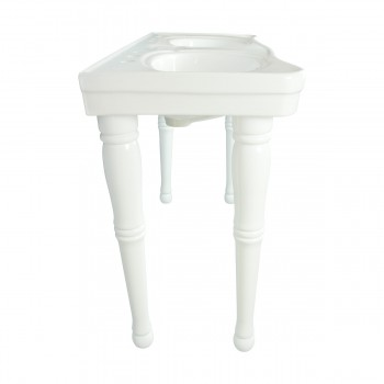 <PRE>Part White Vitreous China Belle Epoque Double Deluxe Console Sink 8in.</PRE>zoom5