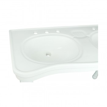 <PRE>Part White Vitreous China Belle Epoque Double Deluxe Console Sink 8in.</PRE>zoom10
