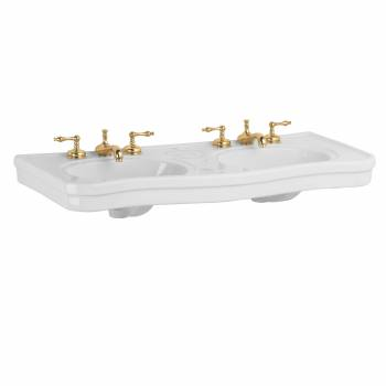 Part White Vitreous China Belle Epoque Double Deluxe Console Sink 8in.16913grid