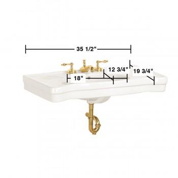 spec-<PRE>Bathroom Console Sinks White China Belle  Epoque No Legs</PRE>