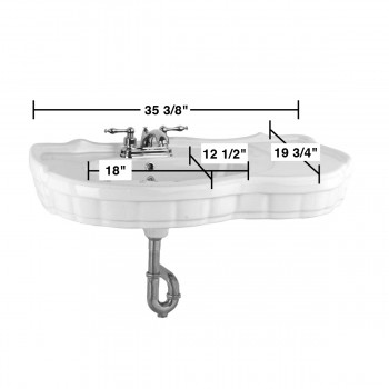 spec-<PRE>Bathroom Console Sinks White Porcelain Southern Belle Sink Part </PRE>
