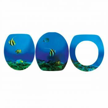 Bathroom Toilet Seat Sea Fish Elongated Chrome Hinge 16941grid