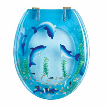Dolphins Swim Round Toilet Seat  Brass PVD Hinges