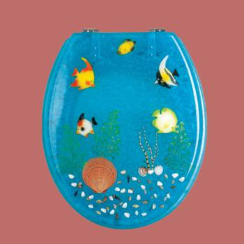 <PRE>Polyresin Toilet Seat Ocean Floor Chrome </PRE>zoom2
