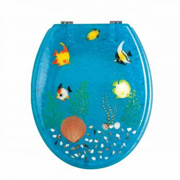 Polyresin Toilet Seat Ocean Floor Chrome 16947grid