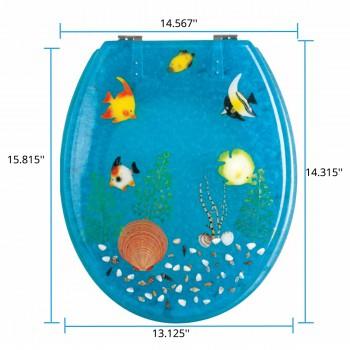spec-<PRE>Polyresin Toilet Seat Ocean Floor Chrome </PRE>