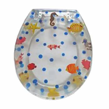 Polyresin Toilet Seat Sea Horse Adjustable Elongated Hinge  16958grid
