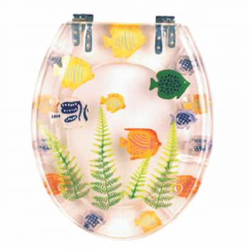 Polyresin Toilet Seat Sea Fish Ajustable Elongated Hinge