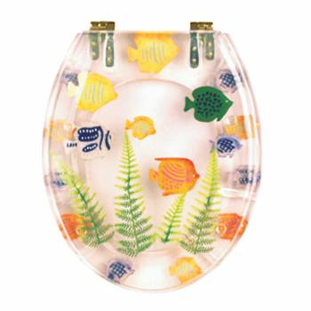 Sea Fish Toilet Seat  Brass PVD Hinges
