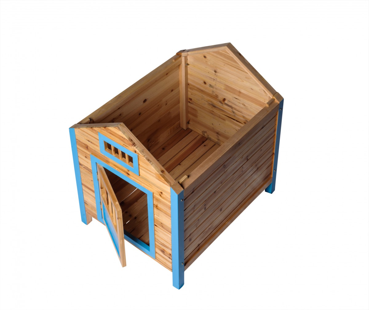 Wooden Dog House Outdoor Wooden Pet Shelter Bed Large w Porch Blue Roof Wooden Dog House Dog House Outdoor pet shelter