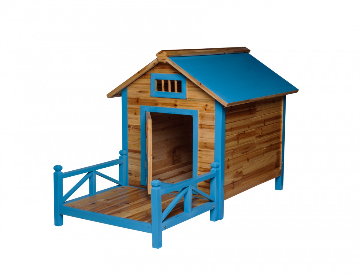 Wooden Dog House Outdoor Wooden Pet Shelter Bed Large W Porch