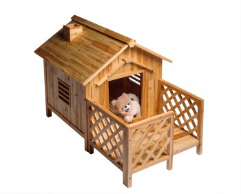 <PRE>Wooden Dog House Outdoor Wooden Pet Shelter Bed Large w/ Porch</PRE>zoom4