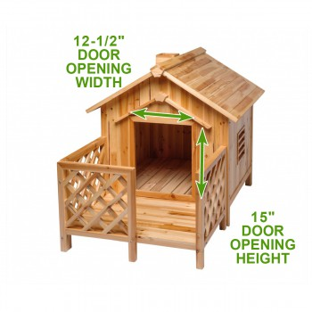 spec-<PRE>Wooden Dog House Outdoor Wooden Pet Shelter Bed Large w/ Porch</PRE>