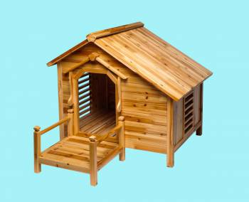 <PRE>Wood Dog House Outdoor Wooden Pet Shelter Bed M w/ Porch </PRE>zoom2