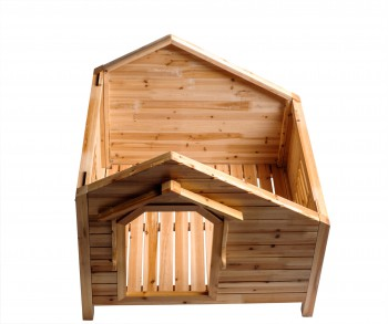 <PRE>Wood Dog House Outdoor Wooden Pet Shelter Bed M w/ Porch </PRE>zoom3