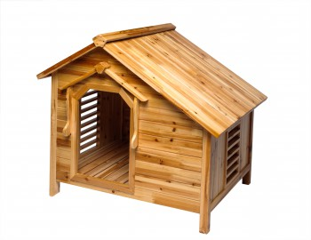 <PRE>Wood Dog House Outdoor Wooden Pet Shelter Bed M w/ Porch </PRE>zoom5