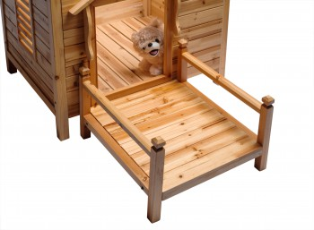 <PRE>Wood Dog House Outdoor Wooden Pet Shelter Bed M w/ Porch </PRE>zoom6