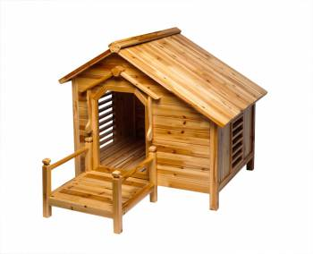 Wood Dog House Outdoor Wooden Pet Shelter Bed M w/ Porch 16987grid