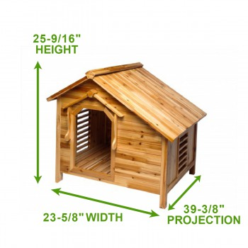 spec-<PRE>Wood Dog House Outdoor Wooden Pet Shelter Bed M w/ Porch </PRE>