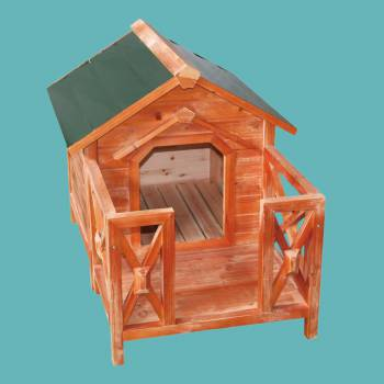 Wooden Dog House Outdoor Wooden Pet Shelter Bed M w Porch Green Roof Wooden Dog House Dog House Outdoor pet shelter