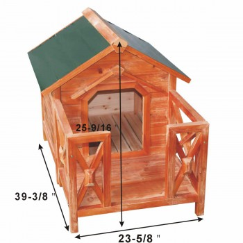 spec-<PRE>Wooden Dog House Outdoor Wooden Pet Shelter Bed M w/ Porch Green Roof</PRE>