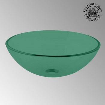 Glass Vessel Sink Green Round - Glass sinks, Glass sink info & unique Glass accessories, quantity discounts on Glass sinks, Glass pedestal sinks, Glass wall mount sinks, Glass console sinks, counter top Glass sinks, Glass counter top sinks, Glass pedestal sinks, bathroom fixtures, Glass bathroom sinks, sink faucets & free shipping by Renovator's Supply.