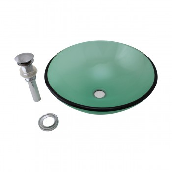 Emerald Tempered Glass Vessel Sink with Drain, Single Layer Round Bowl Sink bathroom vessel sinks Countertop vessel sink high strength unique unusual chic