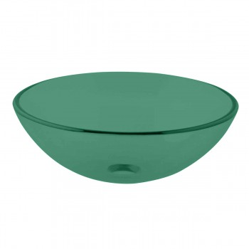 Emerald Tempered Glass Vessel Sink with Drain, Single Layer Round Bowl Sink 17101grid