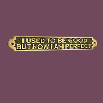 <PRE>Brass Sign I USED TO BE GOOD BUT NOW I AM PERFECT </PRE>zoom2
