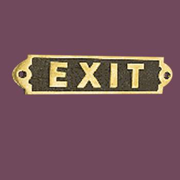 Exit Sign Solid Polished Brass Plaque Tarnish Resistant Brass Plate Brass Sign Plate Brass Plaque Antique Brass Sign