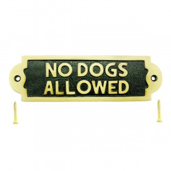Solid Brass Sign NO DOGS ALLOWED Polished Plaques 17125grid