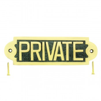 Brass Plaques Polished Private Sign Brass Plate 2 1/8 H X 7 W17127grid
