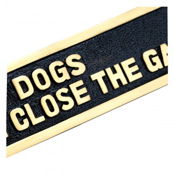 <PRE>Solid Brass Plate Dog Sign DOGS PLEASE CLOSE THE GATE Brass Plaques</PRE>zoom7