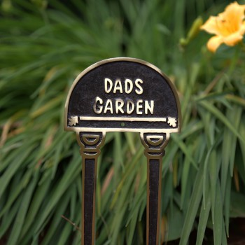 Dads Garden Brass Plaque Garden Sign Accent Free Standing17133grid