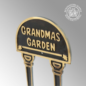 Solid Brass Plate Garden Sign GRANDMAS GARDEN Plaques Grandma Outdoor Garden Signs Plaque Brass Plaque